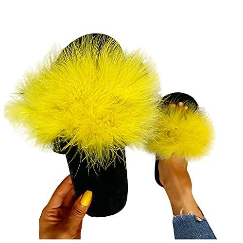 Dasongff - Zapatillas de estar por casa para mujer, de pelo sintético, planas, cómodas, de piel sintética