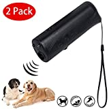 YHmall 2er Pack 3 in 1 Ultraschall Hunde Anti-barke Handheld-Hundetrainingsgerät Abschreckung Antibellen Hund Stopper Trainer GerätLED-Außenrinde-Controller Anti-Statik Handschlaufe (a1)