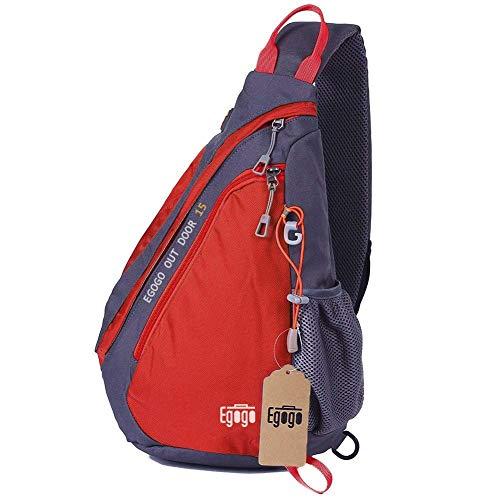 EGOGO Multifunktions Sling Pack Bag Rucksack Cross Body Umhängetasche Schultertasche Fahrradrucksäck (Rot)