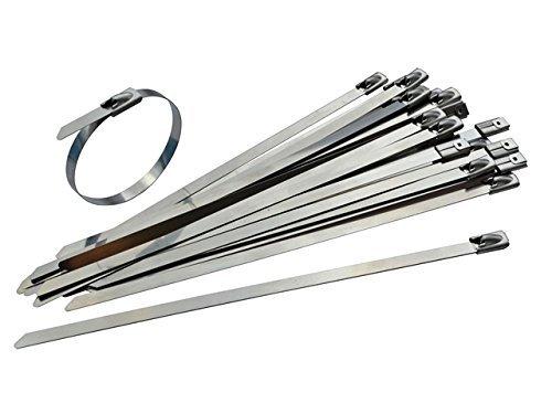 Gocableties Strapazierfähige Edelstahl-Kabelbinder, 300x4,6mm,qualitativ hochwertiger 316er-Edelstahl (Marinequalität), 25Stück