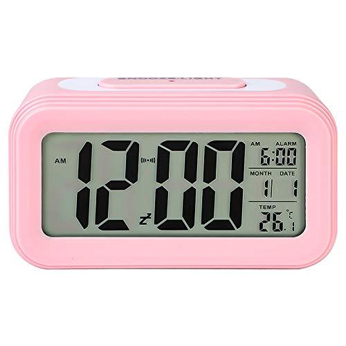 Urijk Digital Wecker Digitaluhr LED Digitaler Wecker Tischuhr Batteriebetrieben mit Datum Temperatur Anzeige Reisewecker Kinderwecker Nacht Sichtbar, ohne Batterien