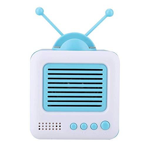 Altavoz Bluetooth retro, Soporte para teléfono con forma de mini TV vintage Altavoz Bluetooth Soporte multifunción Altavoz 2 en 1 con altavoces duales Compatible con Bluetooth/disco U/Tarjeta TF (蓝色)