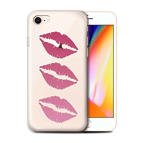 Telefoonhoesje voor Apple iPhone SE 2020 Lippenstift 3 Kleur Roze Lippen Ontwerp Transparant Helder Ultra Zachte Flexi Siliconen Gel/TPU Bumper Cover