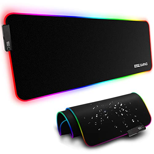 ESGAMING RGB Gaming Mouse Pad, 31.5 x 11.8 Inch Large LED Soft Extra Extended Mousepad, Non-Slip Rubber Base Computer Keyboard Pad Mat for Gamer, Suitable for MacBook, PC, Laptop, Desk