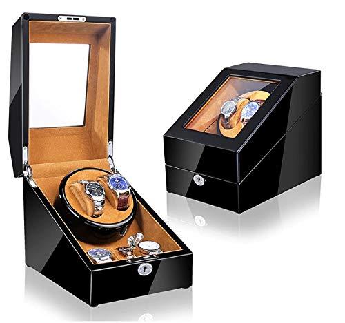 Watch Winder (1 Motor 2 Relojes) Black Brown Caja Movimiento Relojes automaticos