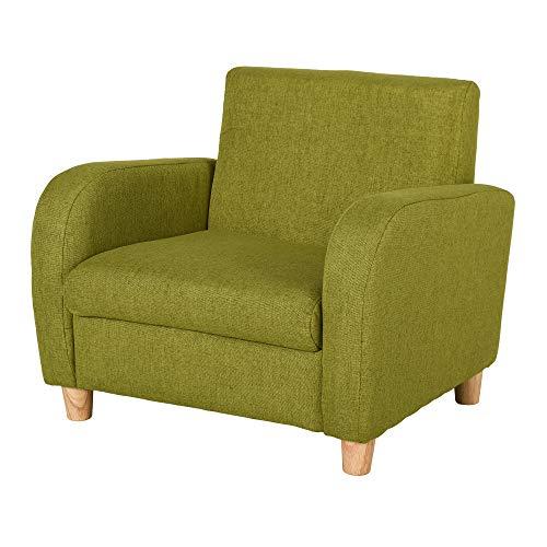 HOMCOM Kids Children Armchair Mini Sofa Wood Frame Anti-Slip Legs High Back Bedroom Playroom Furniture Green