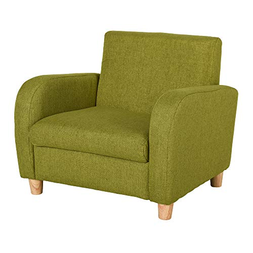 HOMCOM Kids Children Armchair Mini Sofa Wood Frame Anti-Slip Legs High Back Bedroom Playroom Furniture Green