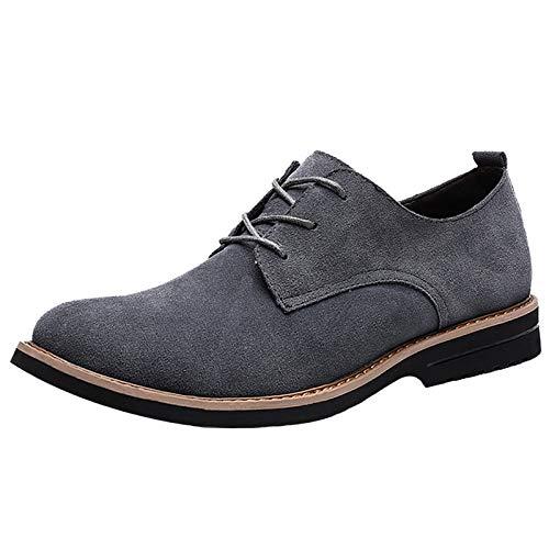 [SOARHOPE] レースアップシューズ メンズ 本革 スエードシューズ カジュアルシューズ 紳士靴 通勤用 グレー 25.0cm