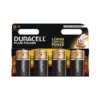 Duracell Plus Power Type D Alkaline Batteries, Pack of 4