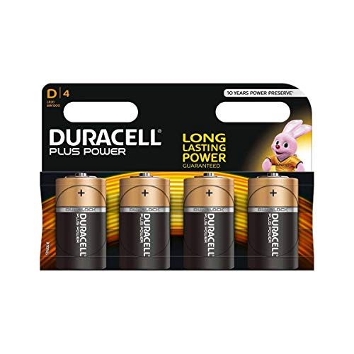 Duracell Plus Power Type D Alkaline Batteries, Pack of 4