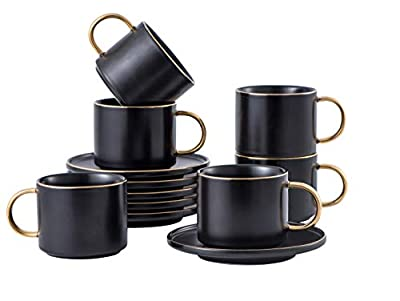 Set of 6 Large 8 (OZ) Americano Cups with Saucer Porcelain Coffee/Tea Cups, Cappuccino/Latte/Espresso/Mocha Cups, Cups and Saucers with Gold Platted Rims and Handles (Black)