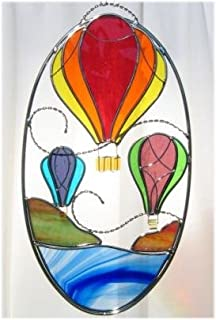 Hot Air Balloon Stained Glass Oval