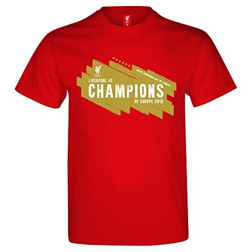 Liverpool FC Officiel - T-Shirt vainqueurs de la Ligue des Champions pour la 6ème Fois - Homme/Enfant - Rouge - S