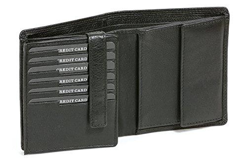 LEAS Kombibörse mit RFID Schutz im Hochformat mit Klappe für viele Karten Echt-Leder, schwarz Escalera-Edition