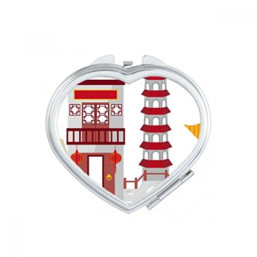 DIYthinker China Architectuur Poort Toren Chinese Illustratie Patroon Hart Compact Make-up Pocket Spiegel Draagbare Leuke Kleine Hand Spiegels Gift