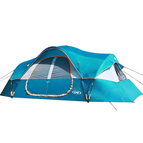UNP Camping Tent 10-Person-Family Tents, Parties, Music Festival Tent, Big, Easy Up, 5 Large Mesh Windows, Double Layer, 2 Room, Waterproof, Weather Resistant, 18ft x 9ft x78in
