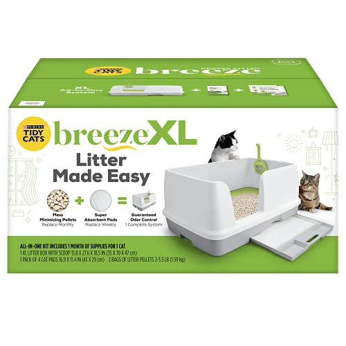 pellet cat litter boxes Purina Tidy Cats Non Clumping Litter System, Breeze XL All-in-One Odor Control & Easy Clean Multi Cat Box