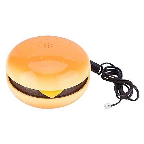 Yuyanshop Teléfono Pusokei Humburger - Marcación de frecuencia de voz, Flash, volver a marcar el último número, teléfono de cuerda emulacional novedoso, teléfono fijo de alambre decoración del hogar