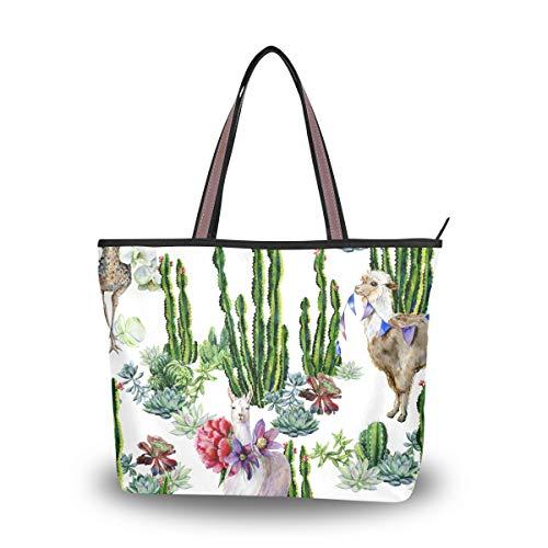 Ahomy Damen Strandtasche, Aquarell, Alpaka, Lama, Kaktus, Strauß, große Schulter-Handtasche für Damen, Mehrfarbig - multi - Größe: L