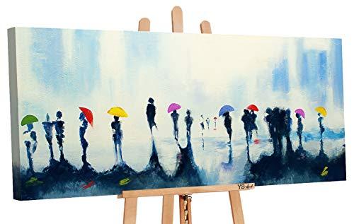 YS-Art | Acryl Gemälde Treffen | Handgemalte Leinwand Bilder | 115x50cm | Wandbild Acrylgemälde | Moderne Kunst | Leinwand | Unikat | Blau