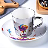 Teacup and Saucer Set, Creativity Mirror Cup and Saucer for Coffee,Bone China Tea Party Gift