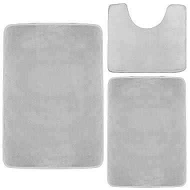 Memory Foam Bathrug Set – Silver, Bath Mat and Shower Rug, Large 20  x 32 , Small 17  x 24 , Contour 24  x 19 , Non Slip Latex Free Plush Microfiber. Comfortable, Beautiful and Maximum Absorbency.
