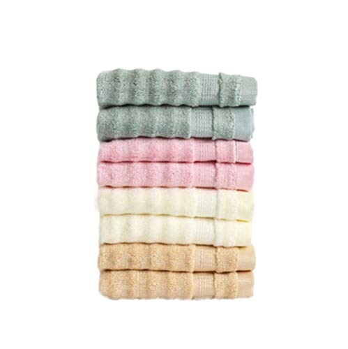 RTYUI Bamboo Fiber Thickened Cut-Off Small Towel, 34*34 cm Pink, Coffee, Dark Green, Beige (4 Pieces)