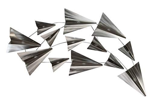 KunstLoft Scultura da Parete in Metallo  Volo per la libertà  126x54x5cm   Decorazione da Parete XXL Design Fatto a Mano   Aerei di Carta Argento   Quadro in Metallo Lussuoso plastico murale