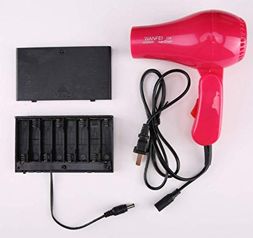 Cordless Portable Hair Dryer, Speed Cooling and Rechargeable Cord for Indoor Outdoor and Traveling, Battery powered cold hair dryer (red)