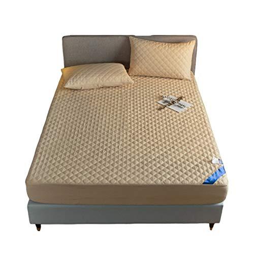 MHCYKJ Protector de colchón impermeable de algodón, sábana bajera ajustable, impermeable, 100% algodón, transpirable, fácil de limpiar, para adultos (color: camel, tamaño: 200 x 200 cm)