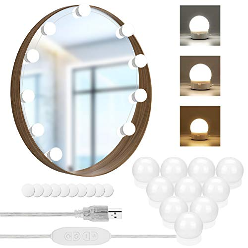 Schminktisch Beleuchtung, Hollywood-Stil LED Spiegelleuchte, Schminktisch Spiegel Lichter Set für Kosmetikspiegel mit Dimmfunktion, USB Make Up Licht 10 Lampen, Schminkleuchte Leuchte Spiegellampe