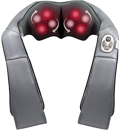 MunichSpring Shiatsu Massagegerät Nacken Schulter Rücken mit wohltuenden Jadesteinen, Massagegerät mit Wärmefunktion, 3 Geschwindigkeiten, Druck- und Überhitzungsschutz