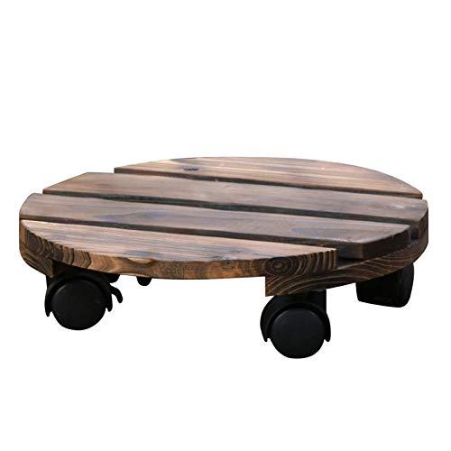Rodillo redondo de madera, 25 cm, con ruedas de 360°, capacidad de carga de 50 kg, para exteriores e interiores