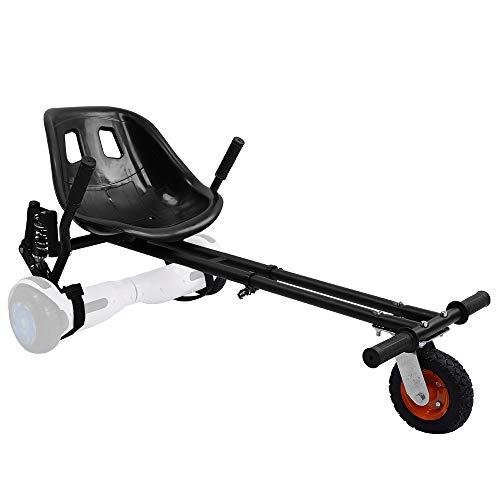 YOLEO Hoverboard Sitz Pro, Hoverkart Sitzscooter mit Dämpfungsfedern verdickter Sitz Tragfähigkeit bis 120 kg für 6,5-10 Zoll Hoverboard Kinder Erwachsene (Schwarz)
