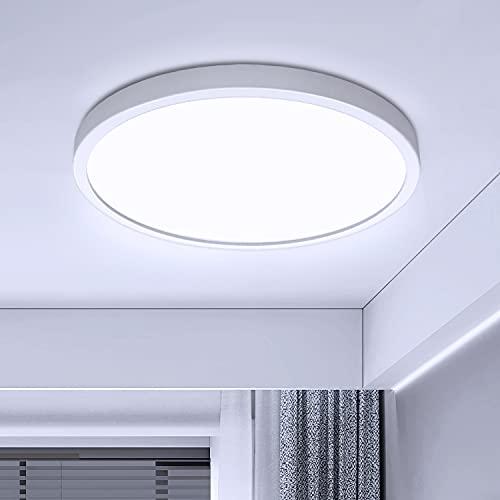 LED Lámpara de Techo Moderna Plafon LED de Techo 28W Ketom Blanco Frio 6500K 2520LM LED Plafón, Ultra Delgado Luz de Techo Para Dormitorio Cocina Pasillo Comedor Sala Habitacion, Ø30cm