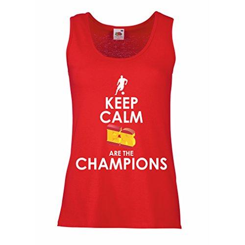 Camisetas sin Mangas para Mujer Españoles Son los campeones, Campeonato de Rusia 2018, Copa del Mundo - Equipo del fútbol de Camisa del admirador de España
