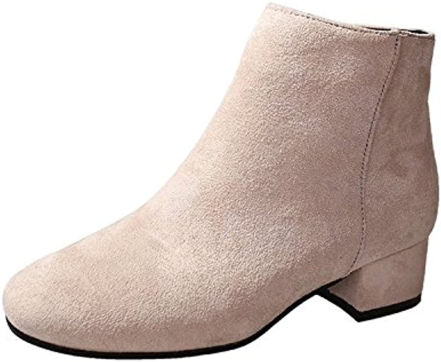 WYMBS Women's shoes Mid Heel Rough with Simple Suede Short Boots Martin Boots,white1,35