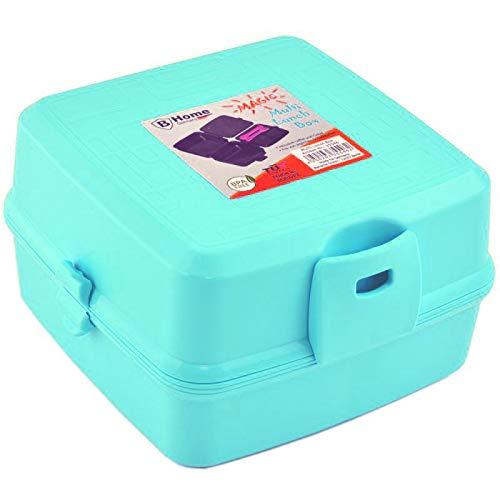 HAC24 Brot- und Lunchbox mit 4 Fächern blau, schwarz oder rosa | Vesperdose | Brotdose Snackbox (schwarz)