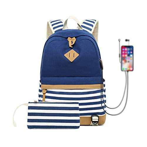 Canvas Backpack School Bags for Teenager Girls College Laptop Student Rucksack with Pencil case, Striped Casual Daypacks with USB Charging Port (Dark Blue-Strips)
