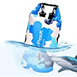 Idefair Bolsa Seca Impermeable, Mochila Seca Flotante Bolsa de Playa Saco seco liviano para la Playa, Paseos en Bote, Pesca, Kayak, natación, Rafting, Camping10L 20L (Azul Claro, 20L)