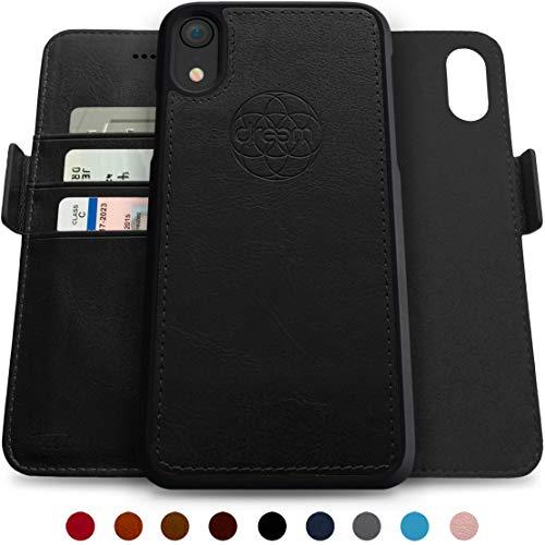 Dreem Fibonacci 2-in-1 Wallet-Case for iPhone XR, Magnetic Detachable Shock-Proof TPU Slim-Case, RFID Protection, 2-Way Stand, Luxury Vegan Leather, GiftBox - Black