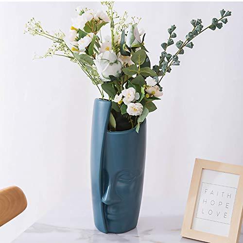 King Style Menschliche Gesicht Vase, Kunststoff Vasen für Blumen, kreative Vase Blumenvasen für Wohnzimmer/Büro/Home Decoration/Hochzeit Dekoration (Marineblau)