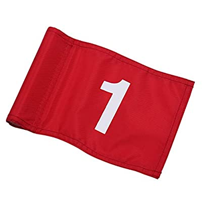 """KINGTOP Numbered Golf Flag with Plastic Insert, Putting Green Flags for Yard, Indoor/Outdoor, Garden Pin Flags, 420D Premium Nylon Flag, All 8"""" L x 6"""" H"""