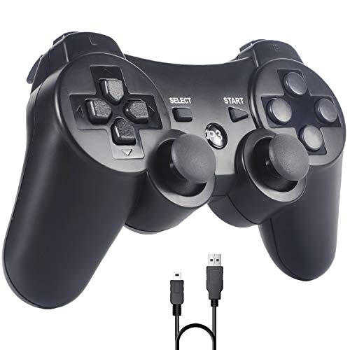 Sefitopher Mando PS3, Bluetooth Controller Joystick con Doble vibración para Playstation 3 con Cable