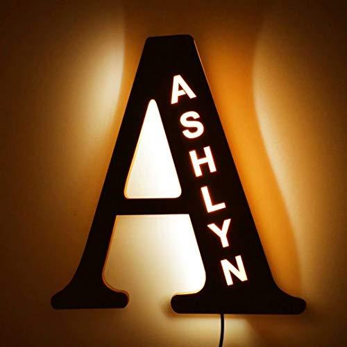 Luces LED de decoración personalizada, luz de pared con nombre grabado en madera personalizado, 26 letras del alfabeto iluminadas, letrero para luz nocturna, fiesta de cumpleaños, lámpara de Navidad