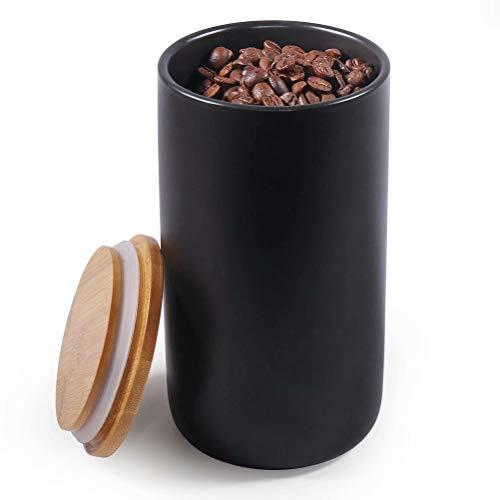 77L Keramik Vorratsdose, 970ML (32.80 FL OZ) Luftdichte Lebensmittelaufbewahrung Kanister mit Aufbewahrungstasche und Holzdeckel, Tragbare Keramik Vorratsdose für Gewürz, Kaffee und mehr (Schwarz)
