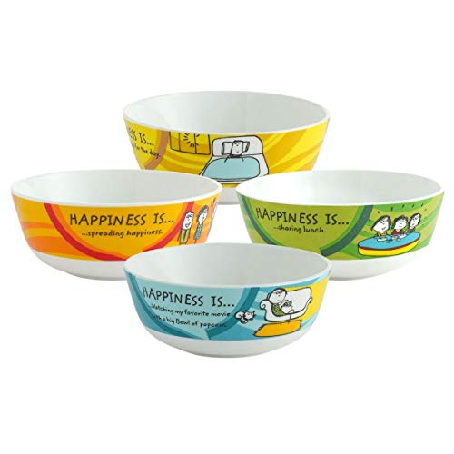 Clay Craft Ceramic Happiness Is Snack/Cereal Bowl, Multicolour, Set Of 4