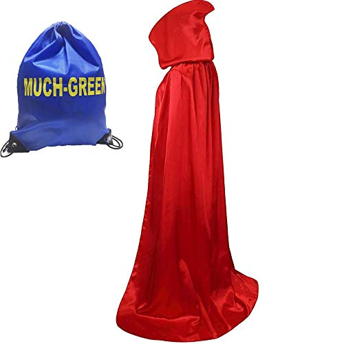 Much Green Mantello con Cappuccio Lungo in Velluto,Costume Unisex di Halloween Carnevale Natale Capo Masquerade Costume Strega Wicca Vampiro Fancy Dress(Rosso,XL)