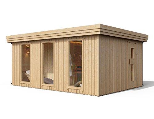 Premium Gartensauna Ardor von Isidor mit Elektro- Saunaofen Irmina Slimline mit 9 kW Heizleistung und externer Steuerung für den Außenbereich; 4,1m² großem Saunaraum inkl. Sauna-Innenausstattung auf insgesamt 17,9 m² Gebäudefläche