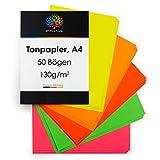OfficeTree 50 Hoja de papel de colores fluorescentes A4-140g/m² niños cartulina para para hacer manualidades, diseñar - 5 tonos luminosos